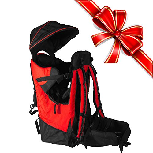 Deluxe-Red-Baby-Toddler-Backpack-Cross-Country-Carrier-Stand-Child-Kid-Sun-Shade