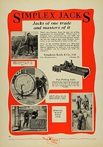 1930 Ad Templeton Kenly & Co. Simplex Jacks Pipe Pole - Original Print Ad