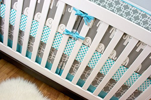 Modified Tot Crib Bedding, Aqua Ele