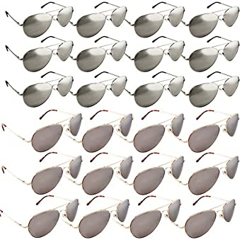 The Original Aviator - Full Mirror Lens (24 Piece, 12 Silver/ 12 Gold Set)