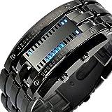 SKMEI LED ブレスレット 腕時計 黒 ブラック 日本製 ムーブメント カレンダー (ブラック) 日本語説明書付き
