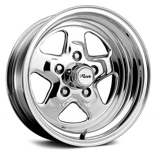 Pacer Dragstar 15x7 Polished Wheel / Rim 5x5 with a 0mm Offset and a 83.00 Hub Bore. Partnumber 521P-5773 (1994 Chevy Caprice Rims compare prices)
