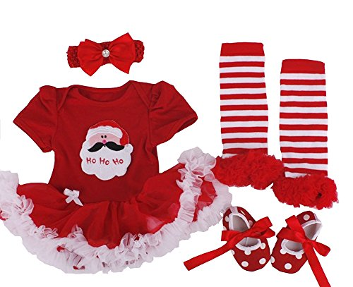 Infant Baby Girls Christmas Santa Dress Romper Headband Shoe Sets Outfits