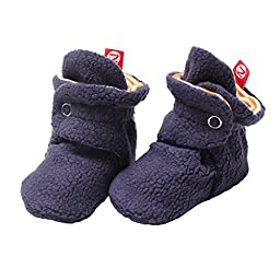 Zutano Cozie Fleece Baby Booties Girls Boys Unisex- Navy Blue / Orange- 6M
