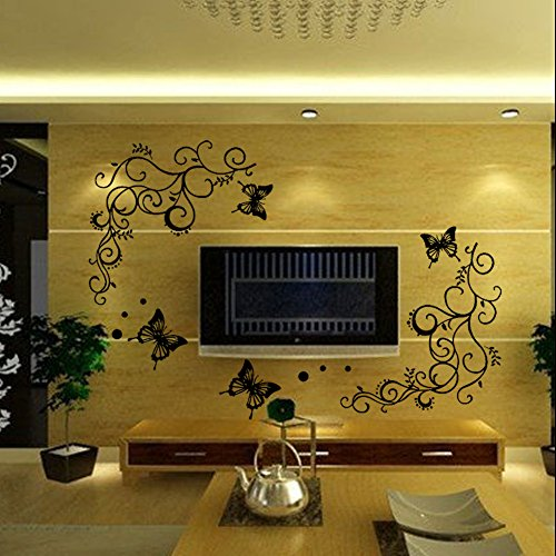 EMIRACLEZE Christmas Gift Holiday Shopping Beautiful Vivid Tree Leaves Big Butterfly Removable Mural Wall Stickers Decal for Home Television Background Wall (Brown Butterfly Decals compare prices)