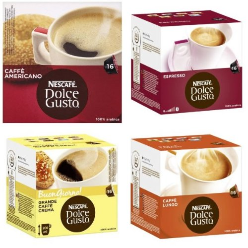 Get Nescafe Dolce Gusto® 4 Flavour Variety Black CoffeePack (64 Capsules) Boxed by Nescafe Dolce Gusto®
