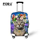 [FOR U DESIGNS]個性的な柄 伸縮素材 Spandex  ラゲッジカバー luggage cover 旅行カバンカバー Sサイズ 猫1
