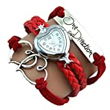 One Direction Heart Watch Charm Bracelet+Twin Hearts+One Direction+Leather PASSION RED.