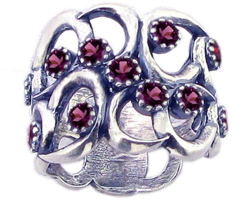Sterling Silver Wavy Openwork Right Hand Ring with Round Genuine Gems-Rhodolite-in full,half,quarter sizes from 5 to 9_5.5