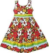 Sunny Fashion Girls Dress Flower Brown Boutique Sundress