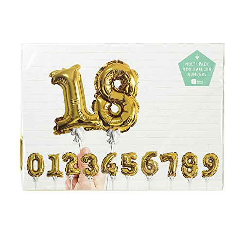 Talking Tables Party Time Gold Foil Number Ballon Cake Toppers (12 Pack), Mini, Multicolor (Number Cake Topper compare prices)