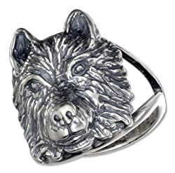 Sterling Silver Wolf Head Ring with Split Shank (size 05)