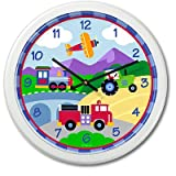 Olive Kids - Trains, Planes and Trucks Clock (White)