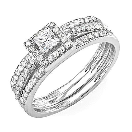 Sale 0.62 Carat (ctw) 14k White Gold Round & Princess Diamond Ladies Bridal Halo Ring Engagement Matching Band Set (Size 7)