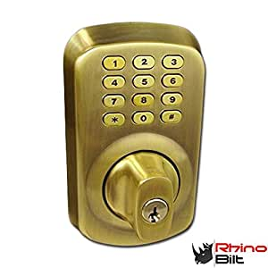 heavyduty electronic keyless deadbolt door lock in antique brass by rhino bilt compare to schlage and kwikset reviews