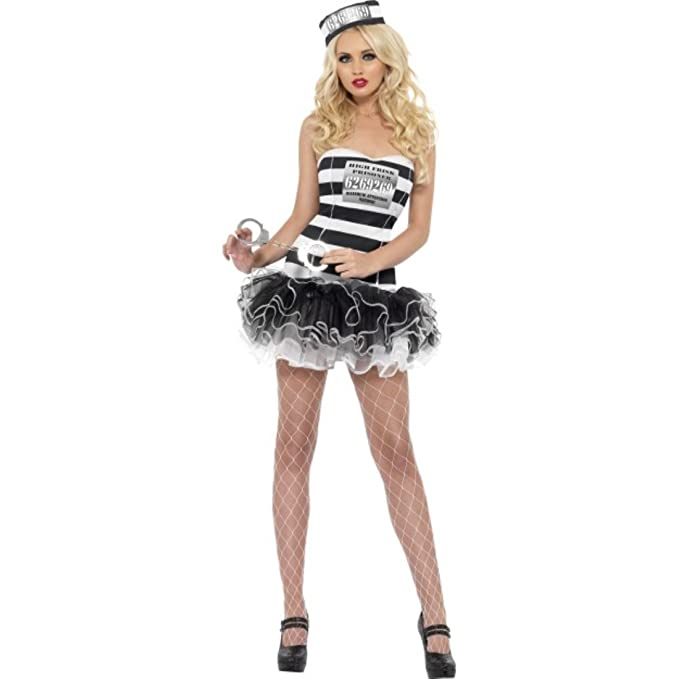 Fever Convict Cutie Costume, Black/White, Medium