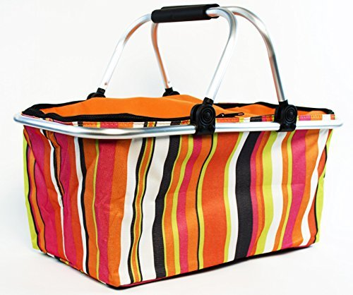 Review Of Insulated Folding Picnic Basket - Insulated Cooler with Carrying Handles (MultiColor)