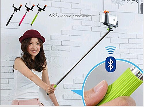 Adjustable Extendable Wireless Bluetooth Mobile Phone Remote Camera Shooting Shutter Monopod Handheld Self Portrait Selfie Stick for Iphone 4 4s, Iphone 5 5s 5c, Samsung S3 S4 S5,samsung Note 2 Note 3, HTC One M7 M8, Google Exus 4 5, Lg G2, Sony Xperia Z1 Z2 Compatible for Smart Phones with IOS 4.0 and Android 3.0 or Above System (Green-wireless Monopod)