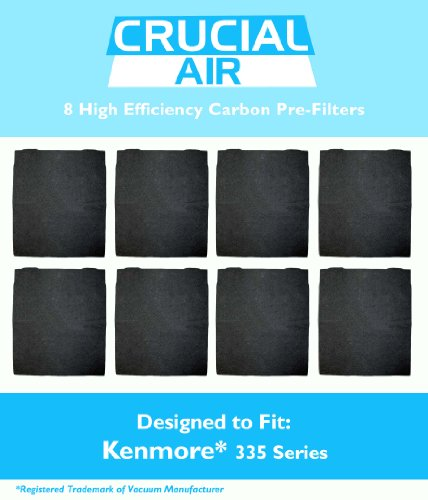 8-Pack High Efficiency Kenmore 335 Series Carbon Pre-Filter, Compare to Filter Part #83378, Designed and Engineered by Crucial Air
