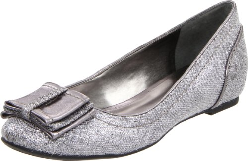 Nine West Women's Reinvented Flat,Silver/Dark Silver Fabric,7.5 M US