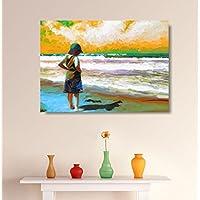 House Things Boy By The Beach Canvas Print 29 X 20.69, Inches Wall Décor Art