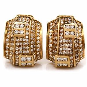 Estate Diamond 18k Gold Clipback Earrings