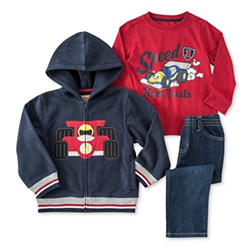 Kids Headquarters Infant Boys 3 Piece Race Car Outfit Pants Shirt & Jacket