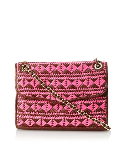 Rebecca Minkoff Women's Affair Woven Shoulder Bag  - Neon Pink/Chocolate