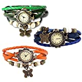 Combo of 3 VB-310 Vintage Butterfly Orange + Blue + Green