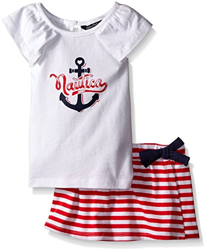 Nautica Girls' Graphic Knit Top with Yarn Dye Stripe Origami Skort, Sail White, 3T