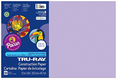 "Tru-Ray Construction Paper, 12""X18"", Lilac, 50 Sheets - 1"