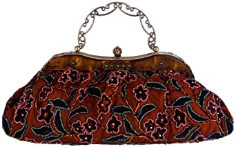 Vintage Amber Plate Beaded Red Floral Clasp Purse Clutch Evening Handbag w/Detachable Chain