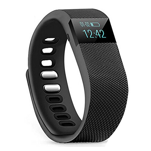 Fitness Tracker,Teslasz Bluetooth 4.0 Sleep Monitor Calorie Counter Pedometer Sport Activity Tracker for Android and IOS Smart Phone (Black)
