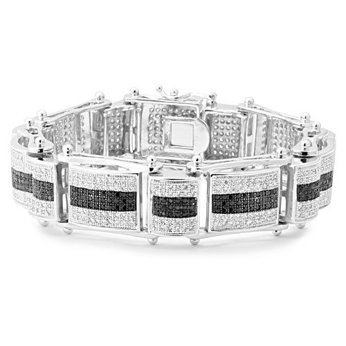 Platinum Style Black Striped Micro Pave CZ Iced