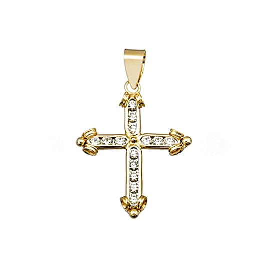 18k gold cross bands zircons extremes [AA4972]