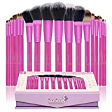 Ivation Cosmetics 20 Pieces Natural Facial Makeup Brush Set With Leather Pouch (Pink)