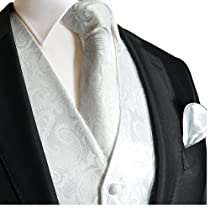 Brand Q Wedding Vest Set White Paisley 3pcs Tuxedo Vest + Necktie + Handkerchief L