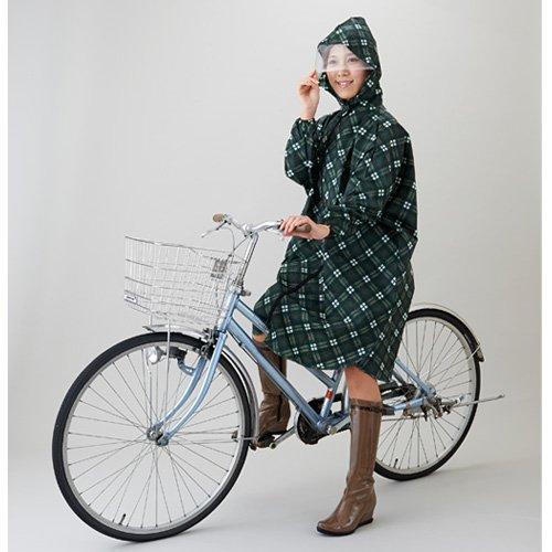 新・英国調チェックレインポンチョ 緑