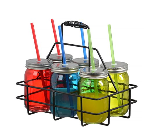 Zeesline Set of Six (6) 16-oz Colored Glass Mason Jars Mugs with Lids and Drinking Straws, Including Caddy Holder with a Handle, Home and Party Drinkware Set, Blue Red Green Drinking Jars ... (Sippy Cup Lids For Ball Jars compare prices)