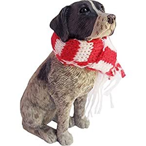 Sandicast German Shorthaired Pointer with Red and White Scarf Christmas Ornament