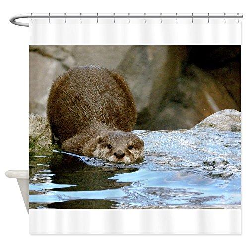 CafePress - River Otter (gone Fishin') Shower Curtain - Decorative Fabric Shower Curtain