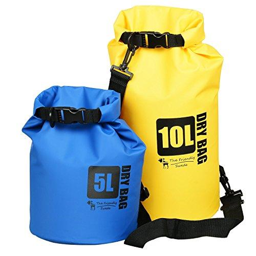 The Friendly Swede - 防水、アウトドアに ≪プレミアム ドライバッグ 2個(5リットル&10リットル)防水 ウォータープルーフ≫[カラー:ブルー+イエロー] 永久保証付き