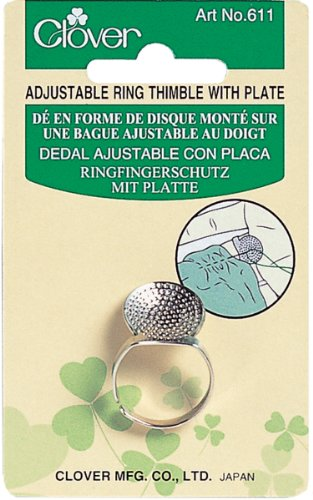 Find Bargain Clover Adjustable Ring Thimble with Plate