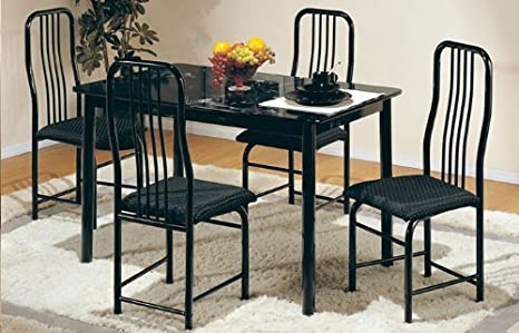 5pc Metal Dining Table & Chairs Set in Black Finish