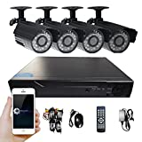 Hi-Tech 4 Channel 960H HD Home Network Video Surveillance Security System(DVR Kits),4Pcs 700TVL Outdoor Waterproof IP Bullet Cameras, 65Ft Night Vision,No HDD