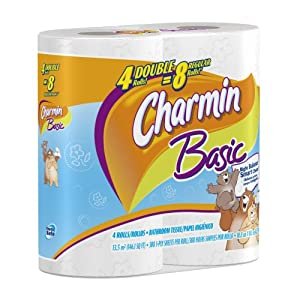 Charmin Basic, Double Rolls, 4 Count Pack (Pack of 10) 40 Total Rolls