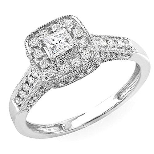 For sale 0.85 Carat (ctw) 14k White Gold Princess Diamond Ladies Halo Style Engagement Bridal Ring (Size 7)