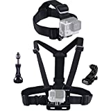 Smatree® Head Strap Belt Mount+ Chest Belt Strap Harness Mount+Aluminum Thumbscrew+J-Hook for Gopro Hero Hero4 Hero3+ Hero3 Hero2 Hero1 and SJCAM cameras (Head/Chest Strap Mount)