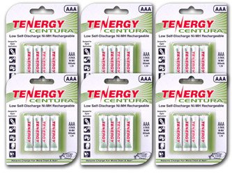 Tenergy Centura AAA Low Self-Discharge LSD NiMH Rechargeable Batteries, 6 Cards 24xAAA