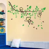 Oren Empower Multicolor Monkey Cartoon PVC Vinyl Wall Sticker For Kids Room (Finished Size On Wall - 174(w) X...